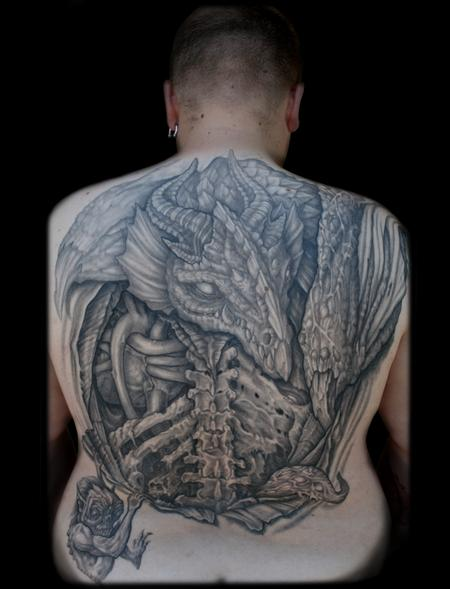 Tattoos - evil dragon opening back tattoo - 59106