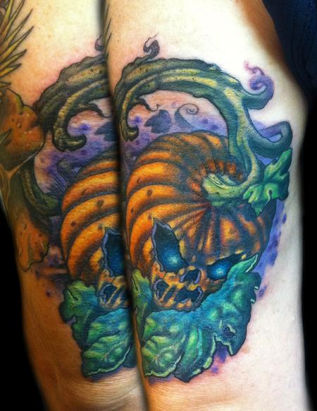 Tattoos - evil pumpkin halloween jack-o-lantern tattoo - 62258