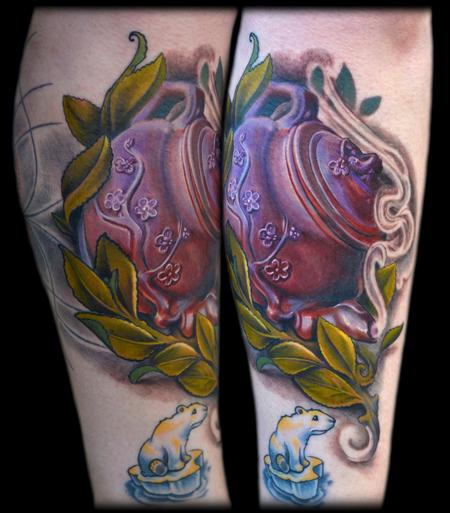 Maximilian Rothert - COLOR REALISTIC TEAPOT AND LEAVES TATTOO