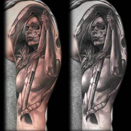 Tattoos - SEXY GRIM REAPER NUDE WOMAN TATTOO - 88815