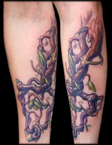 Maximilian Rothert - color twisted tree branches arrow tattoo