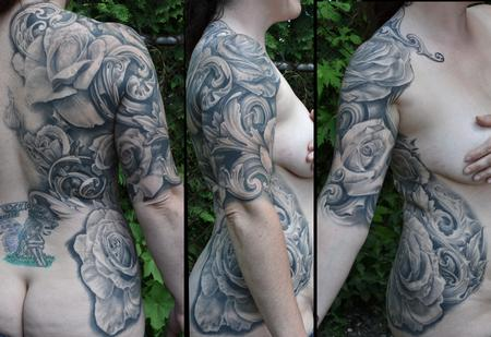 Tattoos - ROSES AND FILIGREE RIB BACK HALFSLEEVE TATTOO - 109360