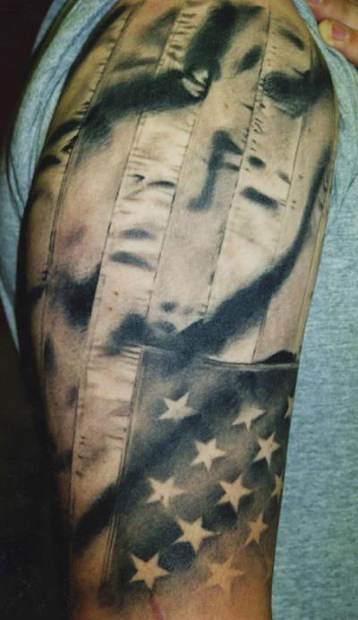 Megan Hoogland - American Flag Tattoo