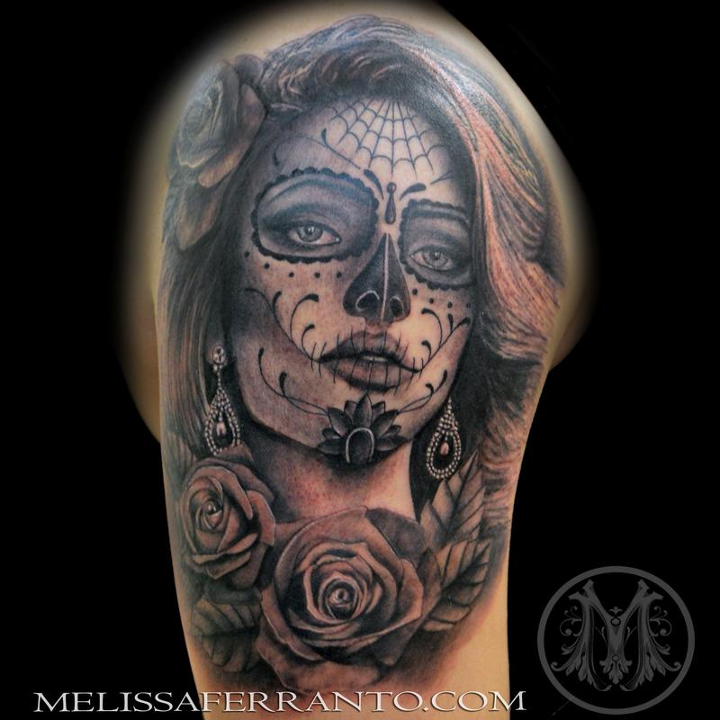 Day of the dead portrait tattoo by melissa ferranto for Jacksonville nc tattoo shops