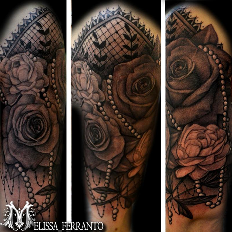 rose peony pearls and lace tattoo by melissa ferranto tattoonow. Black Bedroom Furniture Sets. Home Design Ideas