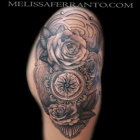 Tattoos - ROSES COMPASS FILIGREE - 119285