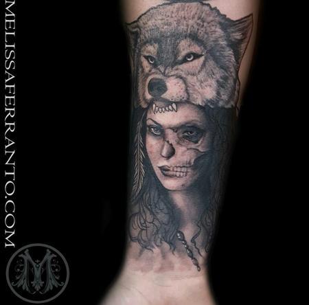 Tattoos - DEAD GIRL WITH WOLF HEADDRESS - 119276