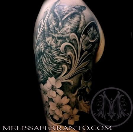 Owl and flowers tattoo by melissa ferranto tattoonow for Jacksonville nc tattoo shops