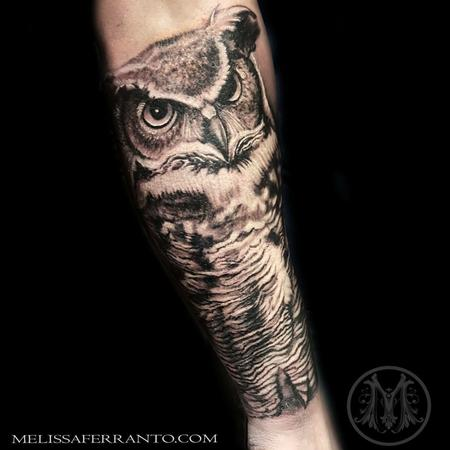 Tattoos - GREAT HORN OWL TATTOO  - 122948