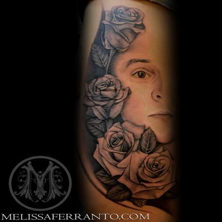 Rose and half face portrait by melissa ferranto tattoonow for Jacksonville nc tattoo shops