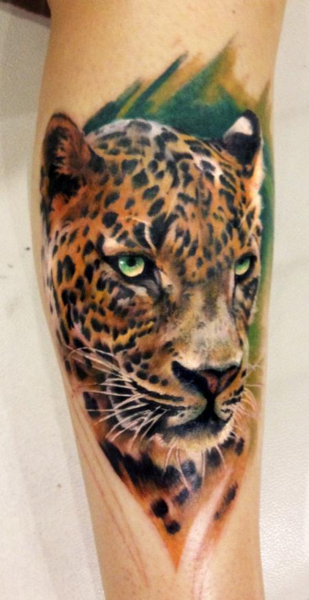 color leopard tattoo by dean lawton tattoonow. Black Bedroom Furniture Sets. Home Design Ideas