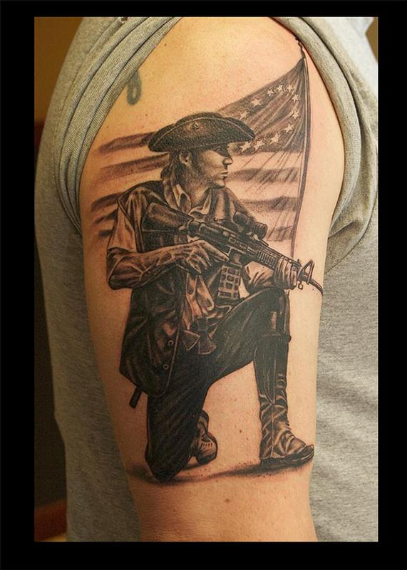 patriotic minuteman tattoo pictures to pin on pinterest tattooskid. Black Bedroom Furniture Sets. Home Design Ideas