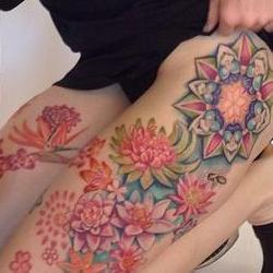 Tattoos - Chloes Succulent Cosmic Garden Leg set  - 91899