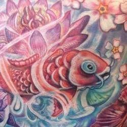 Yolandas Koi in Watergarden Splender Tattoo Design Thumbnail