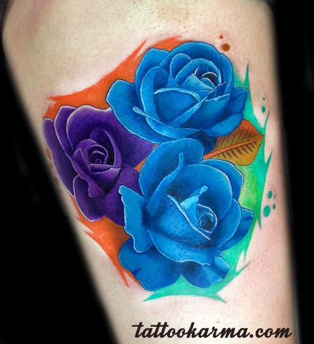 Blue and purple roses by Micle Andersson: TattooNOW