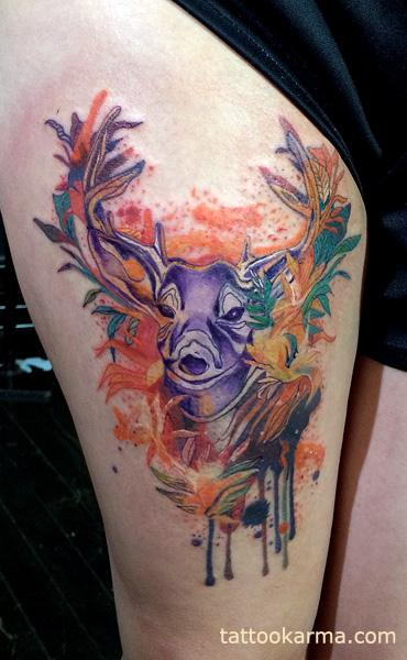 Tattoos - Watercolor elk - 99237