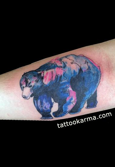 Bear watercolor tattoo - photo#9
