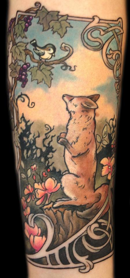 art nouveau, Fox illustration tattoo by Mathew Clarke ...
