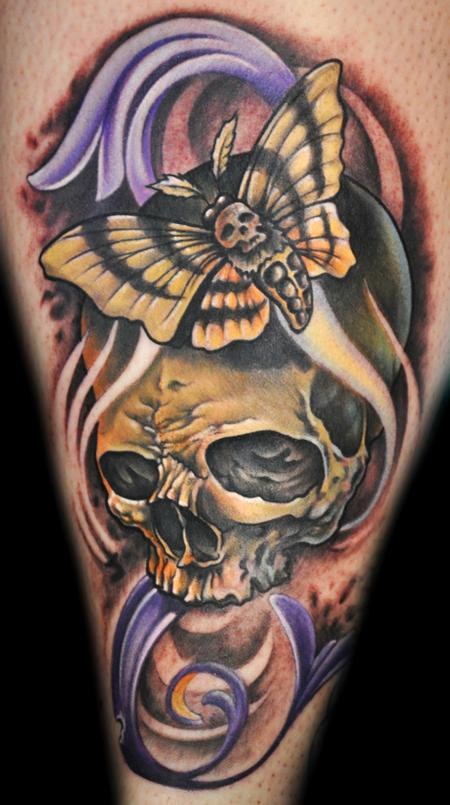 Mathew Clarke - Skull tattoo, deaths head moth.
