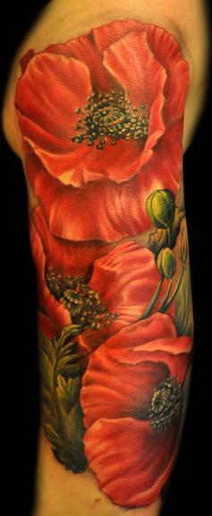 Mathew Clarke - Poppy Flower tattoo