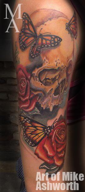 Tattoos - Skull Rose and butterflies