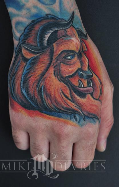 Mike DeVries - Beast Tattoo Healed.