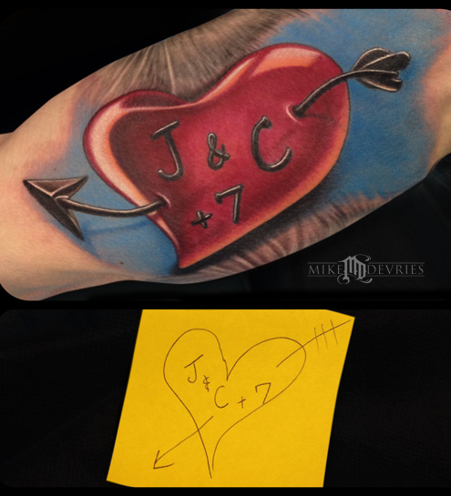 Mike DeVries - Custom Heart Tattoo