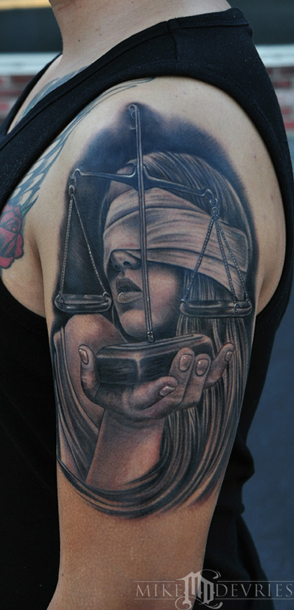 lady justice tattoo by mike devries tattoos. Black Bedroom Furniture Sets. Home Design Ideas