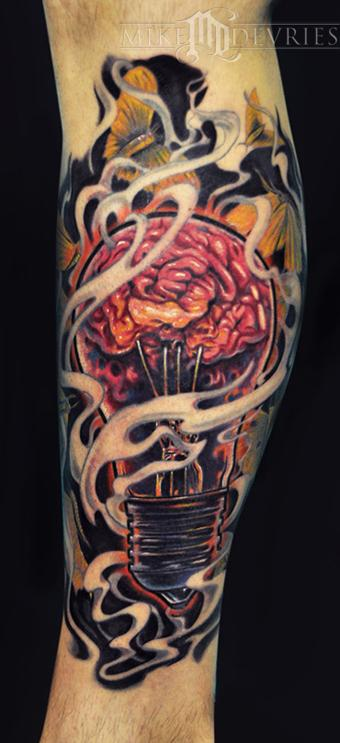 Mike DeVries - Light Bulb Brain Tattoo
