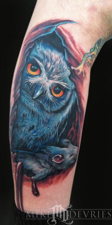 Mike DeVries - Owl Tattoo