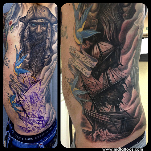 Mike DeVries - Pirate Ship Tattoo