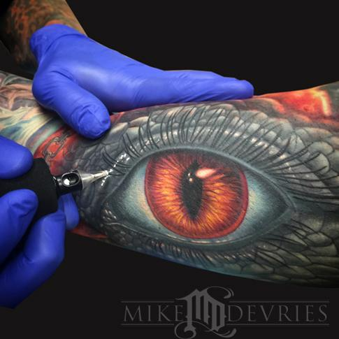 Mike DeVries - Reptile Eye Tattoo