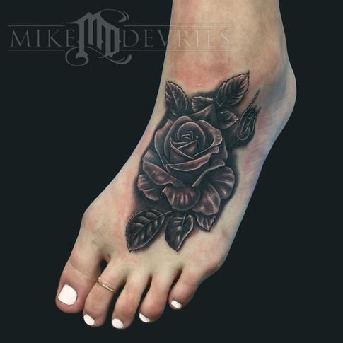 Mike DeVries - Foot Rose Tattoo