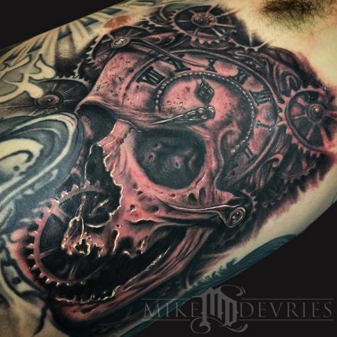 Mike DeVries - Skull and Gears Tattoo