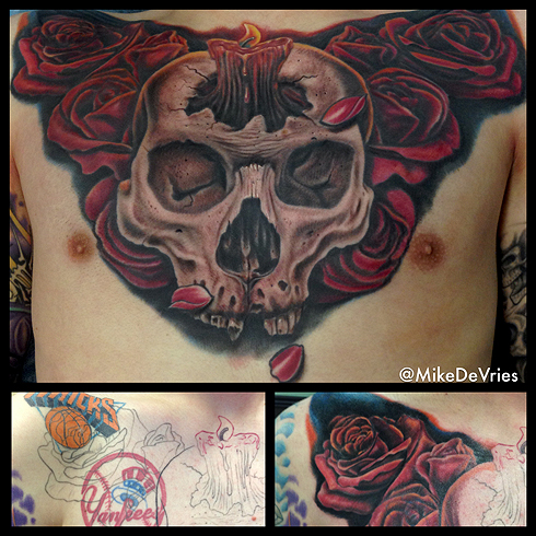 Mike DeVries - Skull Chest Tattoo