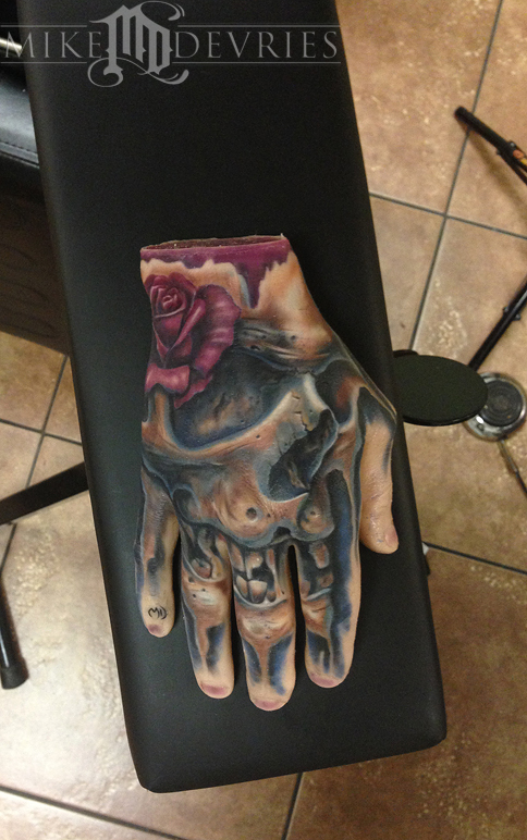 mike devries tattoos skull real tattoo on fake hand