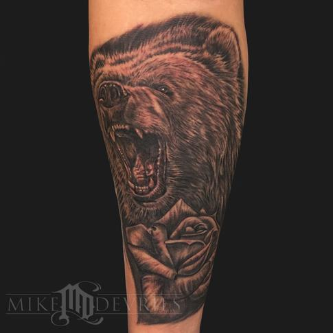 Tattoos - Bear With Rose Tattoo - 119564