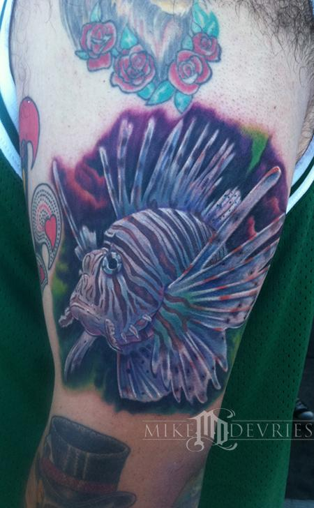 Mike DeVries - Lion Fish Tattoo