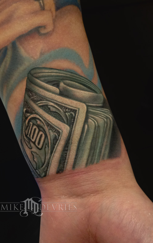 money tattoo by mike devries tattoos. Black Bedroom Furniture Sets. Home Design Ideas