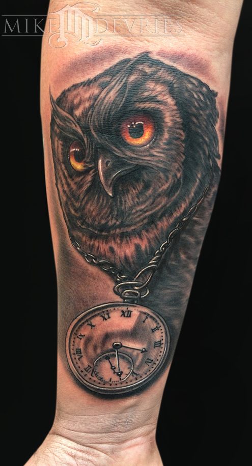 Owl and Clock Tattoo Tattoo Design Thumbnail