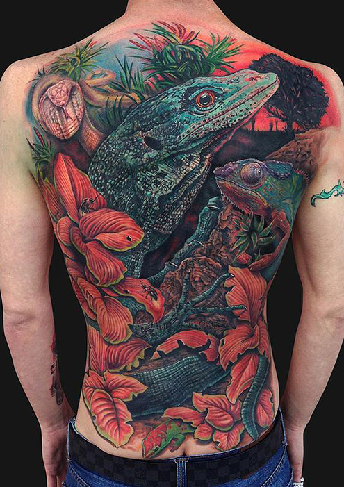 Tattoos - Reptile Back Piece  - 87651