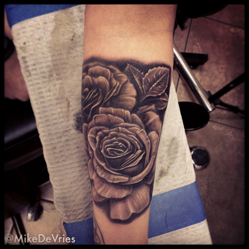 Mike devries tattoos blackwork black and gray roses for Black and gray rose tattoos