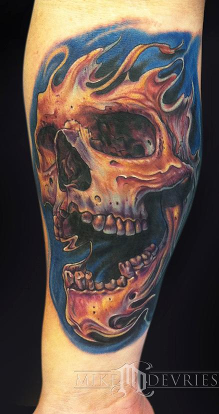 Mike devries tattoos color skull tattoo for Color skull tattoos
