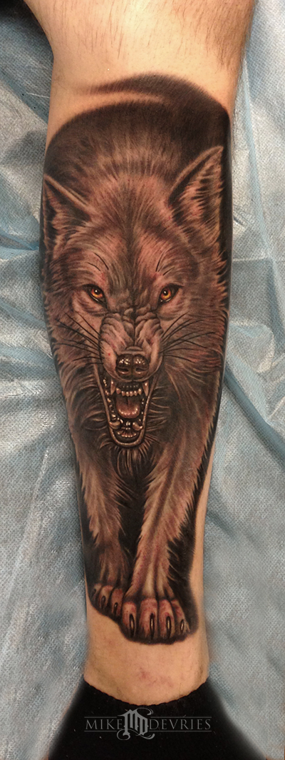 Tattoos - Wolf Tattoo Second Pass - 78431