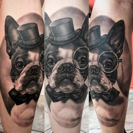 Boston Terrier Portrait Tattoo Design
