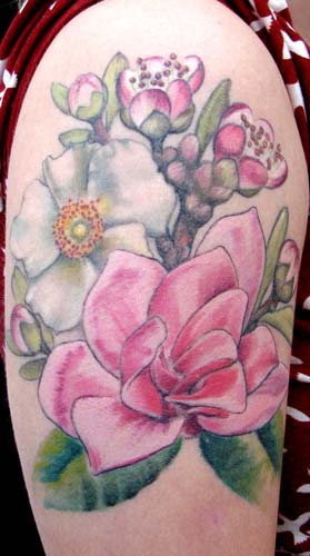 Tattoos - pink magnolia and cherokee rose - 26294