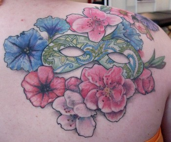 Tattoos - paisley mask with flowers - 46422