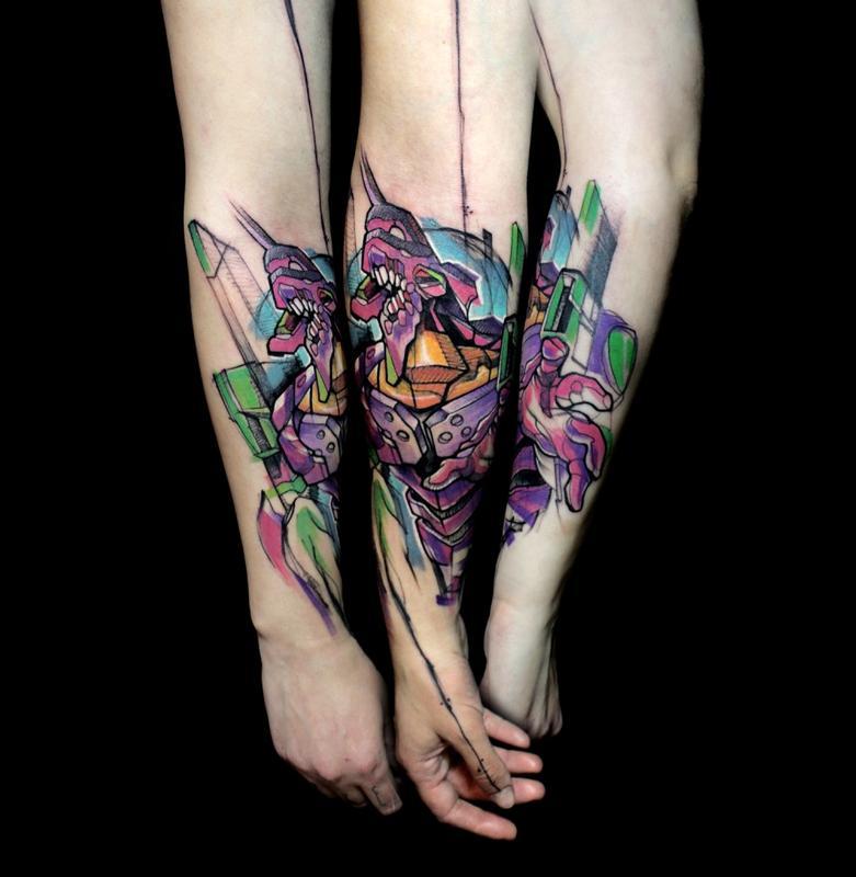 eva 01 neon genesis evangelion by mirco campioni tattoonow
