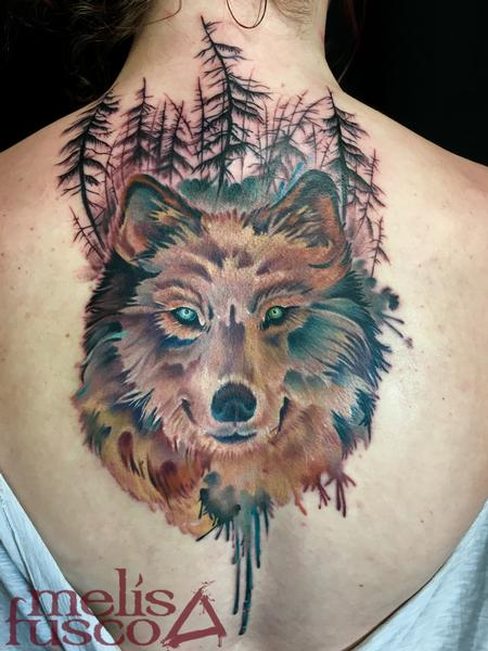 Wolf with gray wash gradient trees Tattoo Design