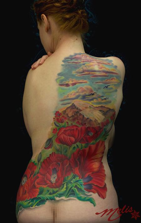 Tattoos - Poppy Mountain scene - 82497